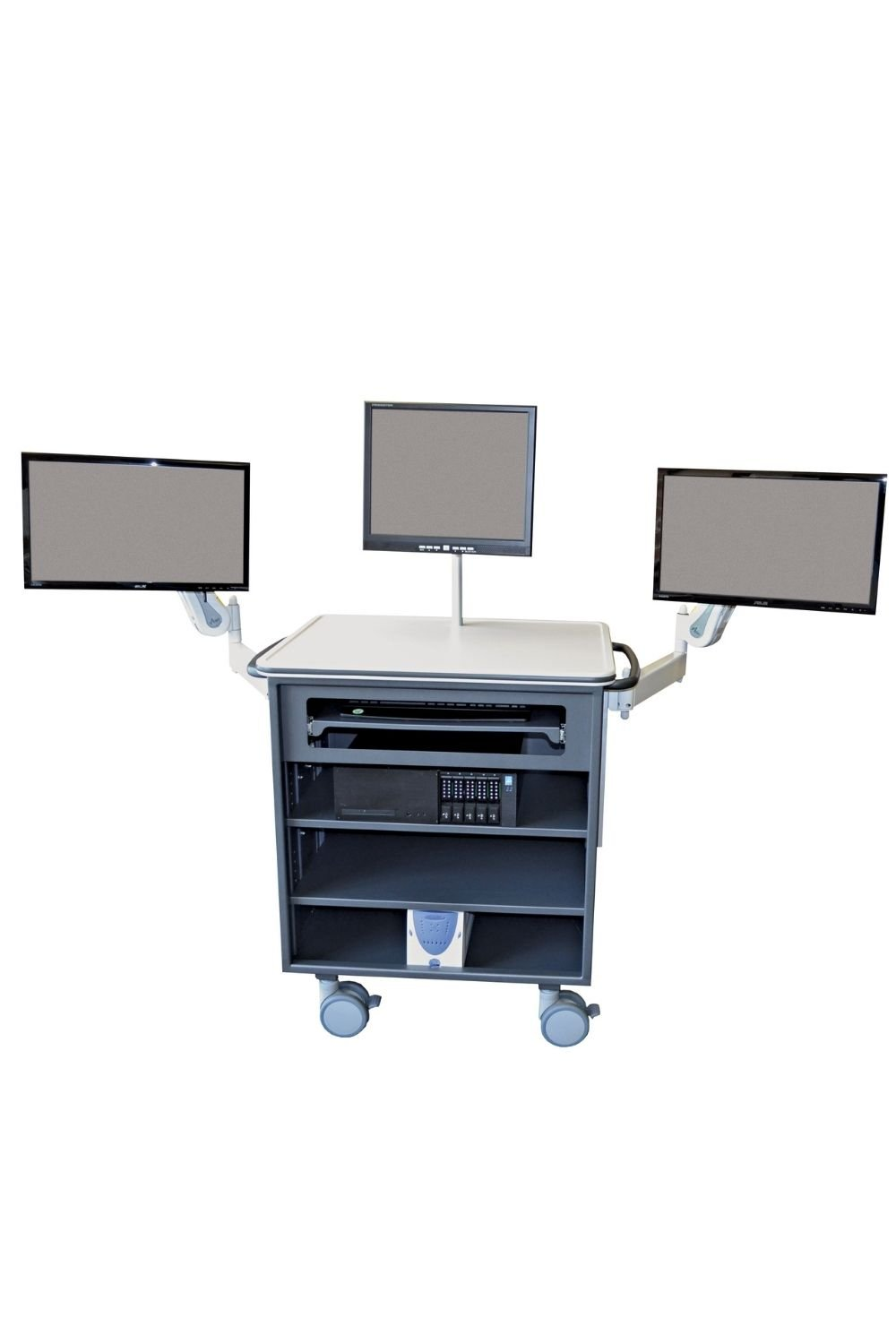 Open case cart with multiple monitors