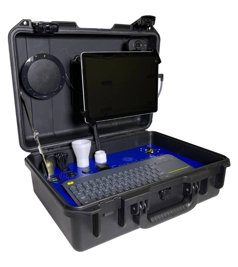 Front left view of kit with tablet